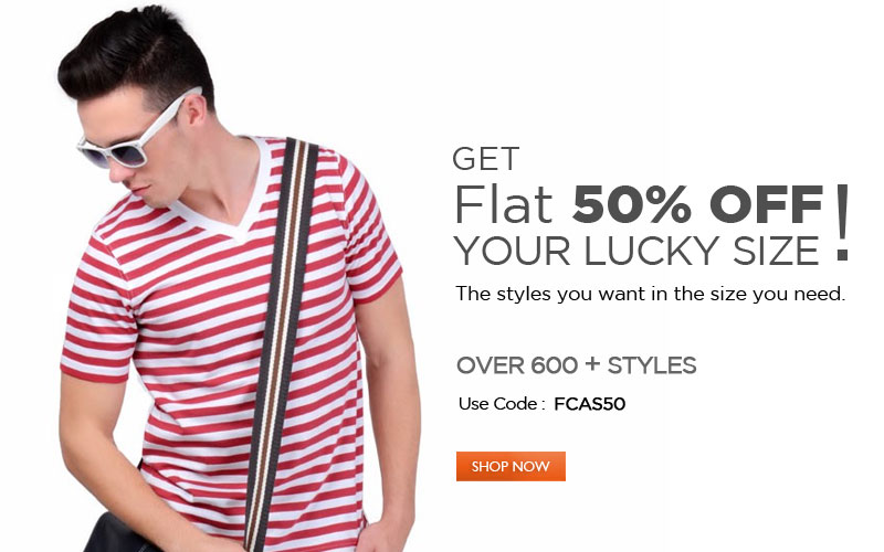 Get Flat 50% OFF your lucky size